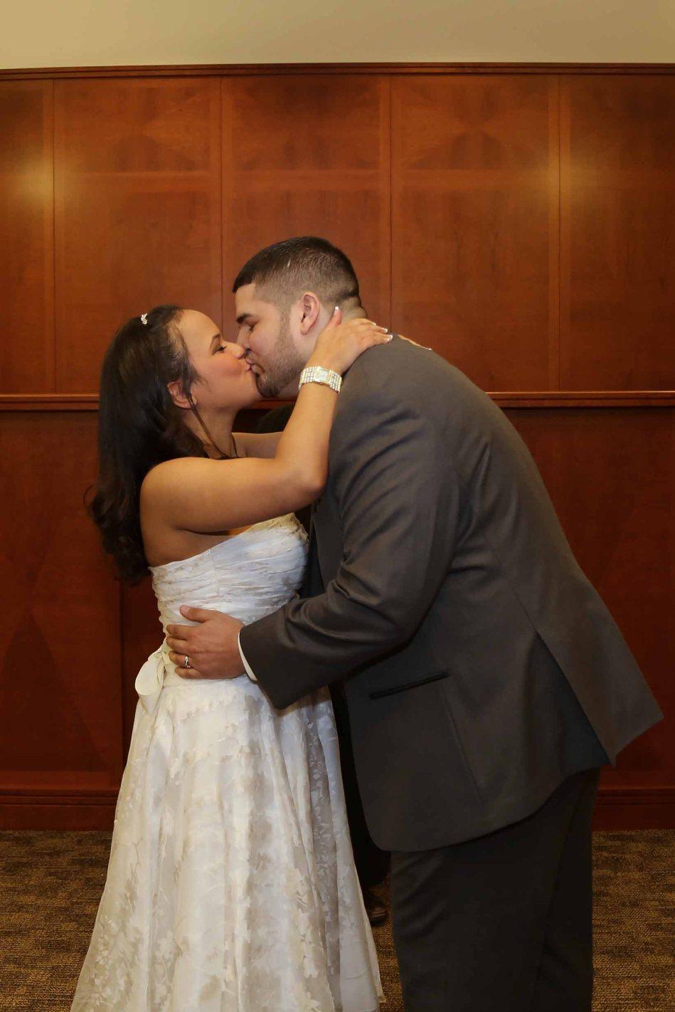 civil wedding ceremony-first kiss-bride and groom-perth amboy municipal court