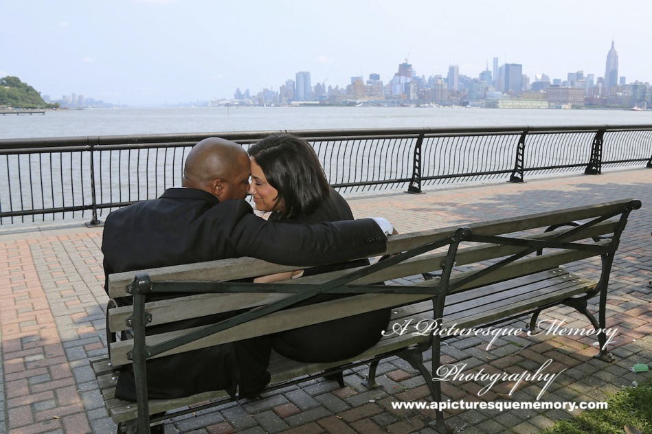 #weddings #apicturesquememoryphotography #engagement #bridetobe #groomtobe #weddingphotography #njwedding #engagementphoto #weddingphoto #hobokenterminal #hobokenpiers #nycskyline