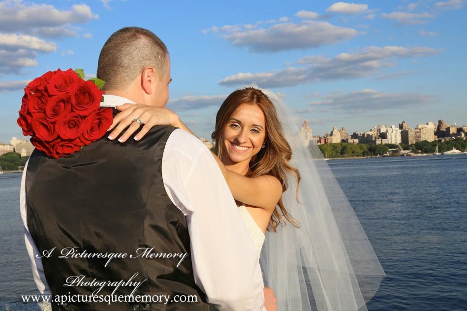 #brideandgroom, #justmarried, #njwedding, #apicturesquememoryphotography, #weddingphotography, #weddings, #bridesbouquet, #watersiderestaurant, #northbergennj, #nycskyline