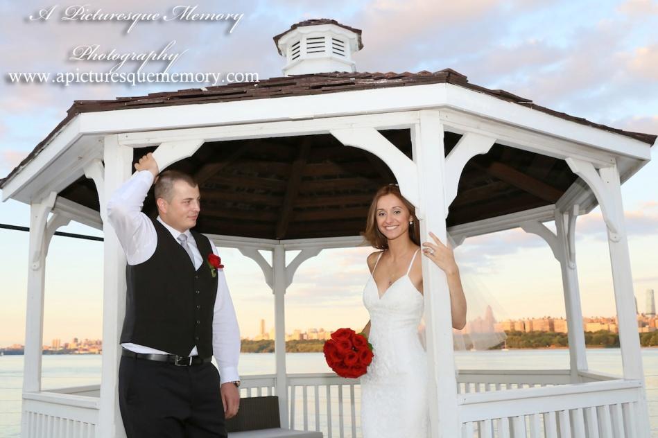 #brideandgroom, #justmarried, #njwedding, #apicturesquememoryphotography, #weddingphotography, #weddings, #gazebo, #watersiderestaurant, #northbergennj
