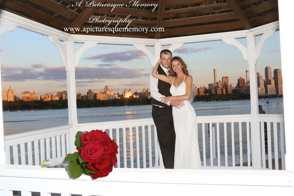 #brideandgroom, #justmarried, #njwedding, #apicturesquememoryphotography, #weddingphotography, #weddings, #watersiderestaurant, #gazebo, #bridesbouquet