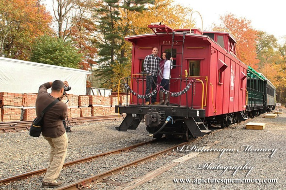 #weddingphotographer, #engagement, #engagementpictures, #engaged, #justengaged, #bridetobe, #groomtobe, #steamenginetrain, #apicturesquememoryphotography, #allairestatepark