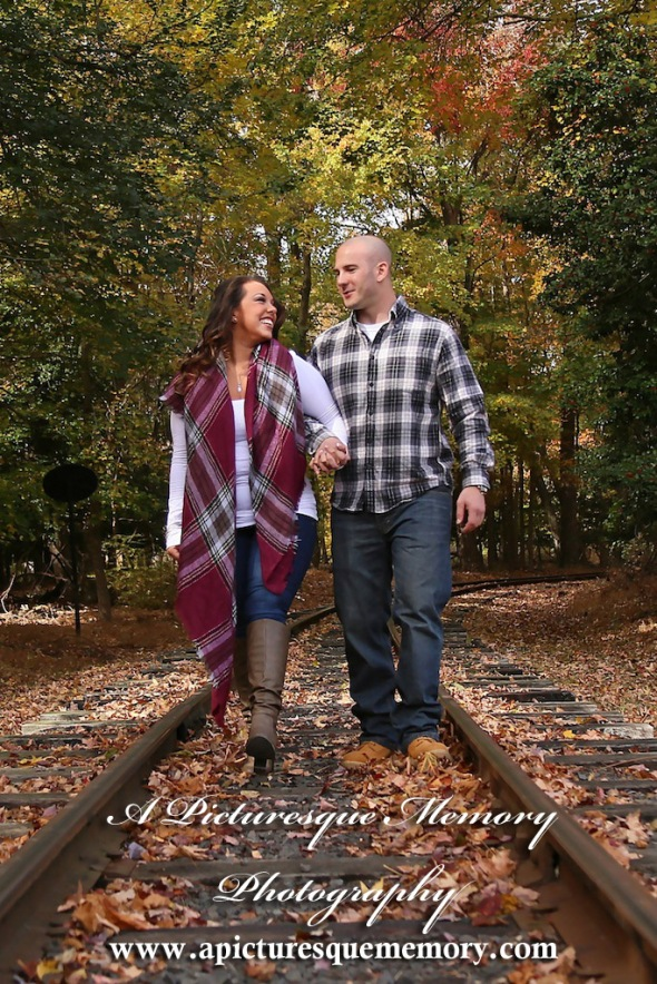 #weddingphotographer, #engagement, #engagementpictures, #engaged, #engegmentsession, #bridetobe, #groomtobe, #traintrack, #apicturesquememoryphotography, #allairestatepark