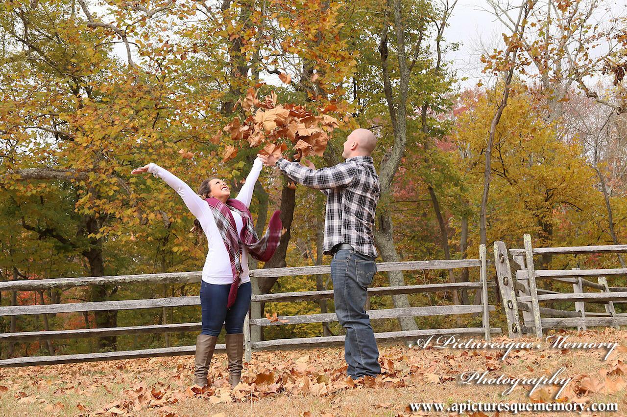 #weddingphotographer, #engagement, #engagementpictures, #engaged, #justengaged, #bridetobe, #groomtobe, #rusticengagement, #leaffight, #apicturesquememoryphotography, #allairestatepark