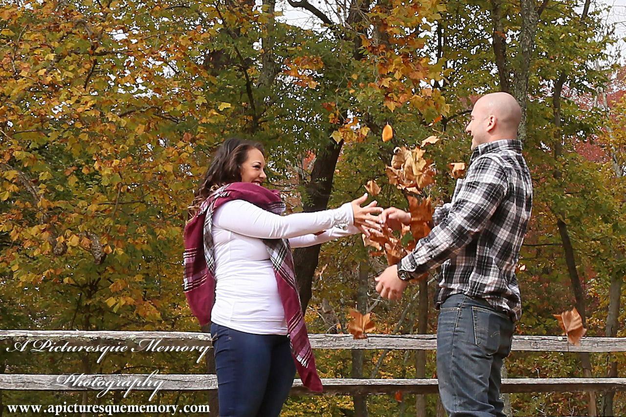 #weddingphotographer, #engagement, #engagementpictures, #engaged, #justengaged, #bridetobe, #groomtobe, #leaffight, #rusticengagement, #apicturesquememoryphotography, #allairestatepark
