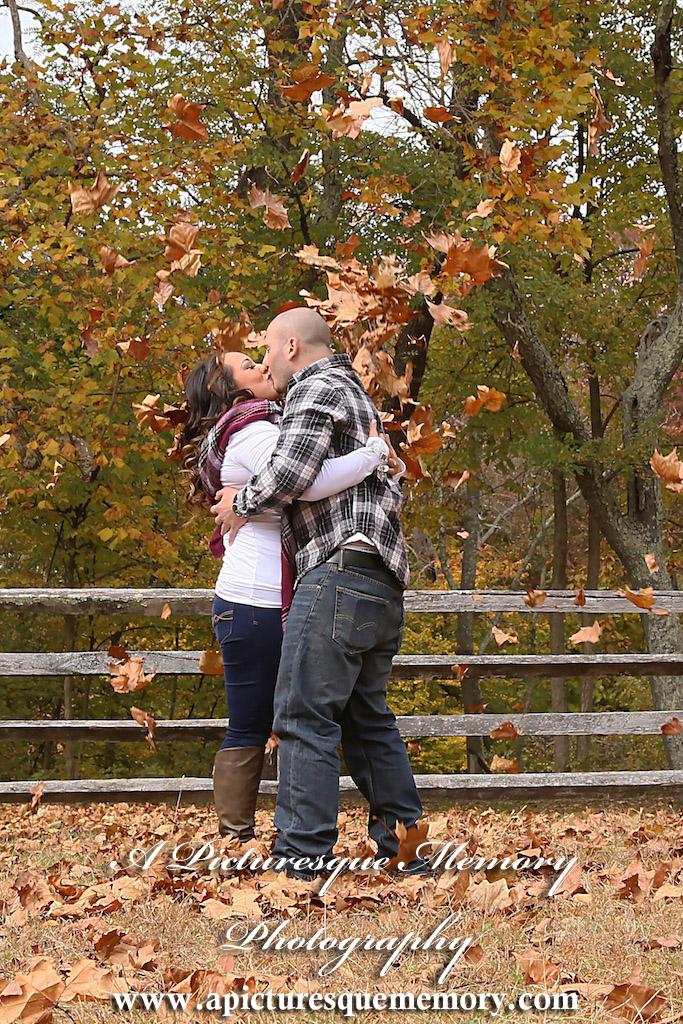 #weddingphotographer, #engagement, #engagementpictures, #engaged, #justengaged, #bridetobe, #groomtobe, #rusticengagement, #leaffightkiss, #apicturesquememoryphotography, #allairestatepark