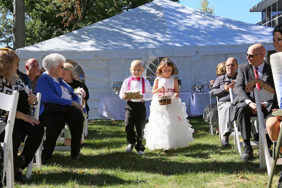 #ringbearerandflowergirl, #njwedding, #apicturesquememoryphotography, #weddings, #firefighterwedding, #pomptonlakesnjwedding, #backyardwedding
