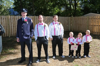 #groomsmen, #njwedding, #apicturesquememoryphotography, #weddings, #firefighterwedding, #pomptonlakesnjwedding, #backyardwedding, #ceremony