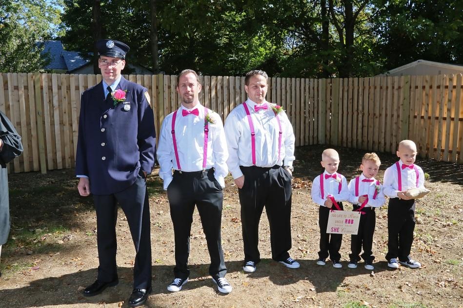 #groomsmen, #njwedding, #apicturesquememoryphotography, #weddings, #firefighterwedding, #pomptonlakesnjwedding, #backyardwedding, #ceremony