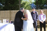 #justmarried, #njwedding, #apicturesquememoryphotography, #weddings, #firefighterwedding, #pomptonlakesnjwedding, #backyardwedding, #brideandfatherofthebride
