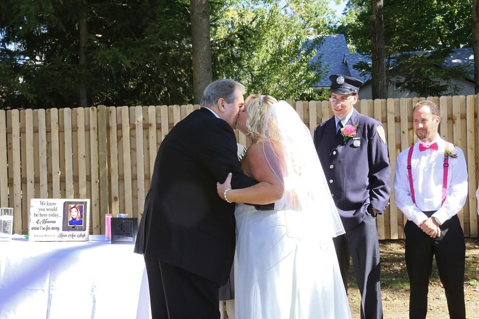 #justmarried, #njwedding, #apicturesquememoryphotography, #weddings, #firefighterwedding, #pomptonlakesnjwedding, #backyardwedding, #brideandfatherofthebride