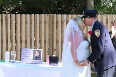 #justmarried, #njwedding, #apicturesquememoryphotography, #weddings, #firefighterwedding, #pomptonlakesnjwedding, #backyardwedding, #firstkiss