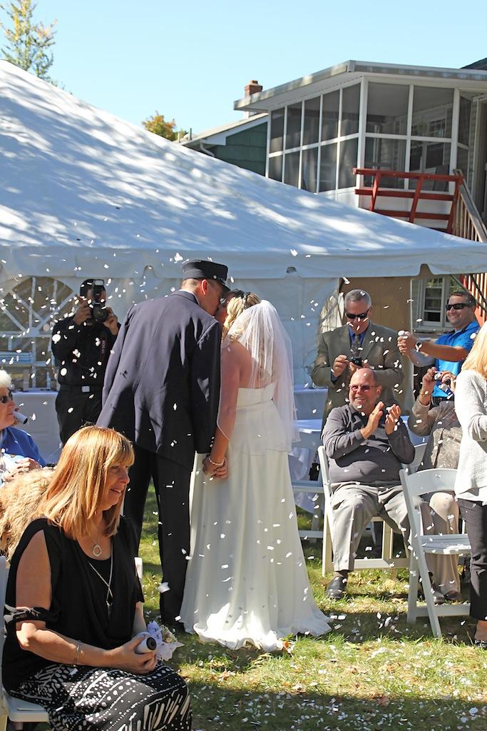 #justmarried, #njwedding, #apicturesquememoryphotography, #weddings, #firefighterwedding, #pomptonlakesnjwedding, #weddingceremony, #backyardwedding