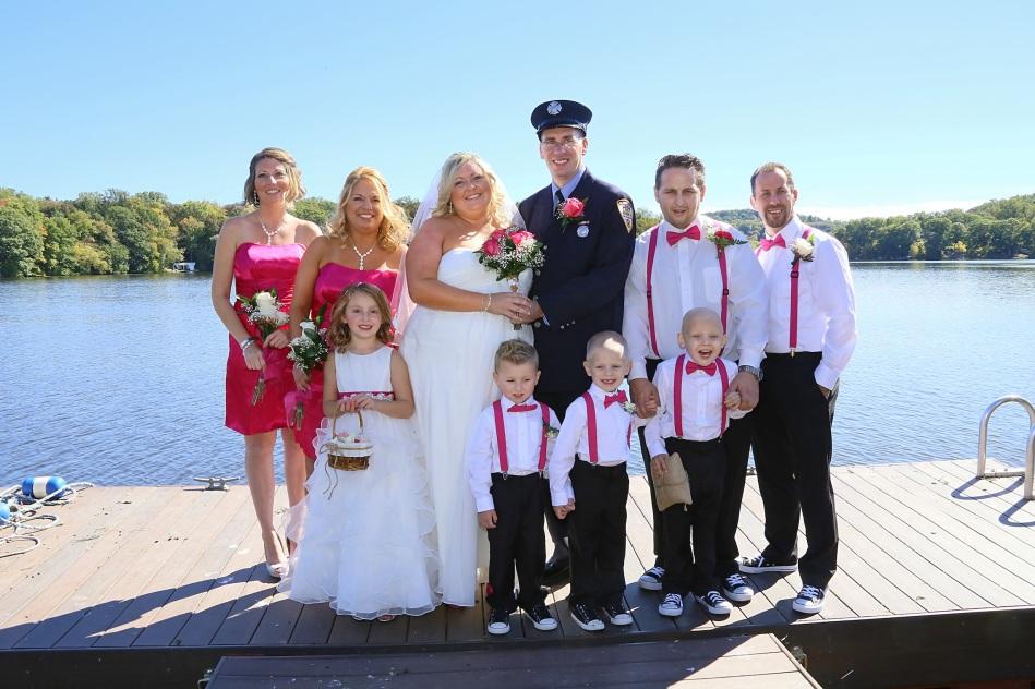 #justmarried, #njwedding, #apicturesquememoryphotography, #weddings, #firefighterwedding, #pomptonlakesnjwedding, #bridalparty, #weddingphotosonlake