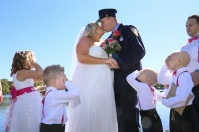 #justmarried, #njwedding, #apicturesquememoryphotography, #weddings, #firefighterwedding, #pomptonlakesnjwedding, #brideandgroomkiss, #ringbearer, #flowergirl