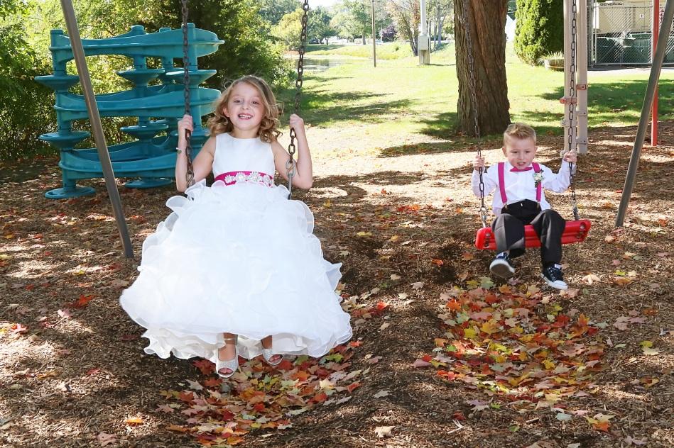 #weddingphotos, #njwedding, #flowergirl #playgroundswings