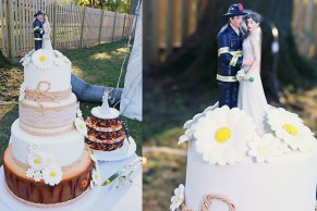 #njwedding, #weddingphotos, #firefighterweddingcake, #firefightercaketopper, #backyardwedding, #pomptonlakesnjwedding