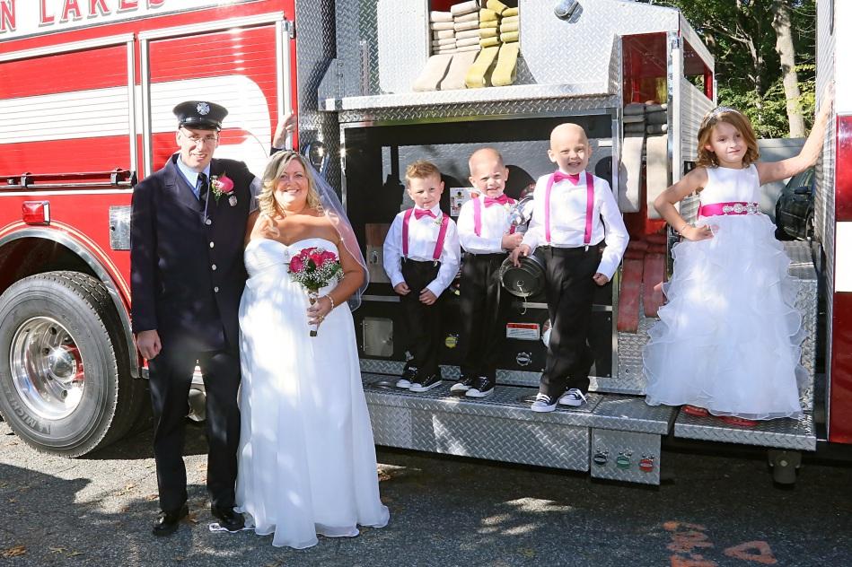 #firefighterwedding, #njwedding, #apicturesquememoryphotography, #njweddingphotographer, #weddingphotography, #pomptonlakesnjwedding, #firetruckweddingphotos