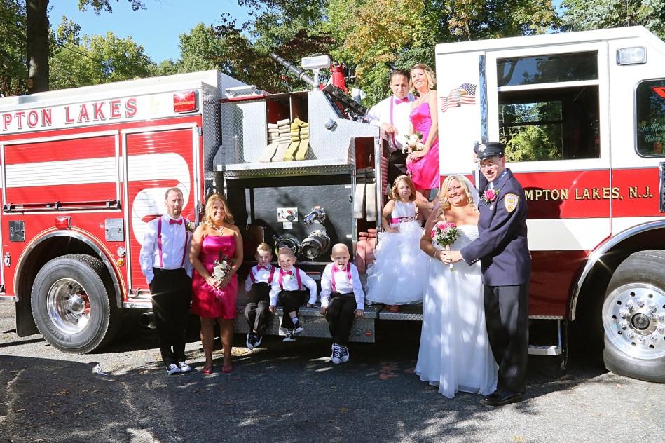 #njwedding, #apicturesquememoryphotography, #firefighterwedding, #firetruck, #pomptonlakesnjwedding, #bridalparty, #weddingphotos, #njweddingphotographer