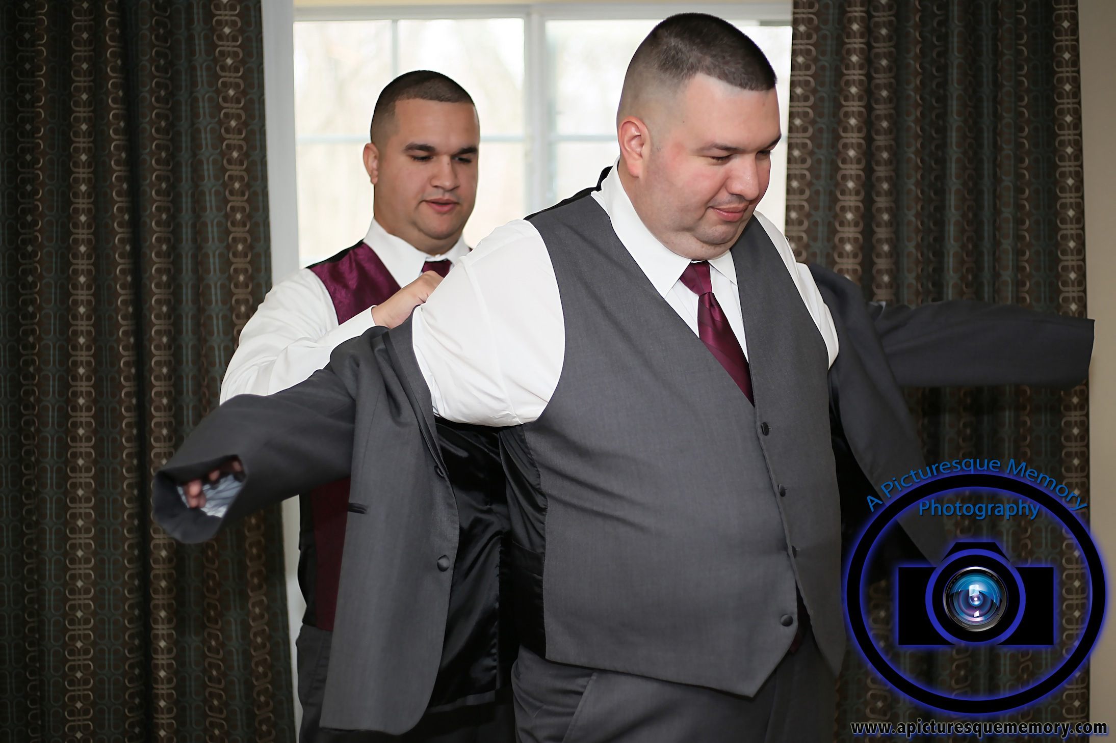 #njwedding, #njweddingphotography, #northbrunswickweddingphotographer#weddingphotos, #apicturesquememoryphotography, #staybridgesuitesweddingphotographer, #groom, #greysuits, #bestman
