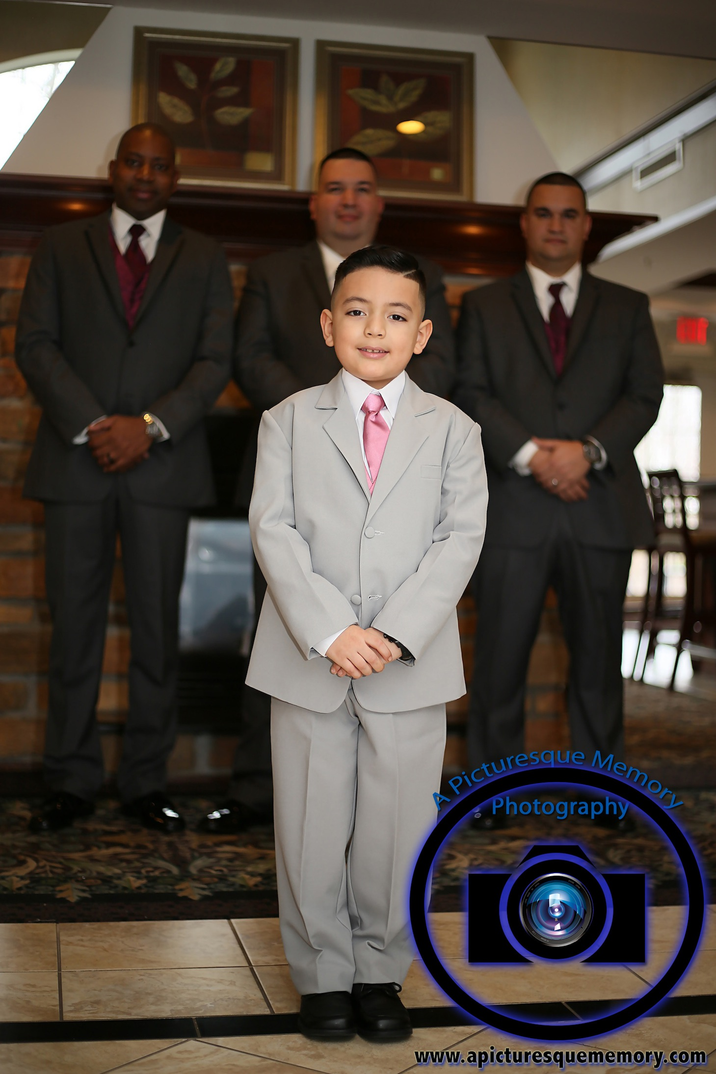 #njwedding, #njweddingphotography, #northbrunswickweddingphotographer#weddingphotos, #apicturesquememoryphotography, #staybridgesuitesweddingphotographer, #ringbearer, #greysuits