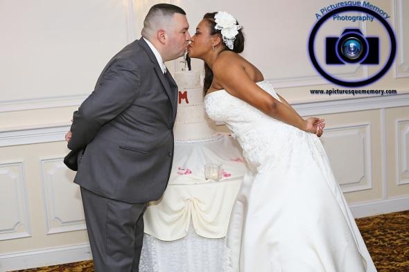 #njwedding, #njweddingphotography, #southbrunswickweddingphotographer#weddingphotos, #apicturesquememoryphotography, #pierresofsouthbrunswickweddingphotographer, #brideandgroomkissing, #cakecutting